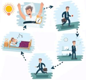Le cycle de boulot-Métro-Dodo